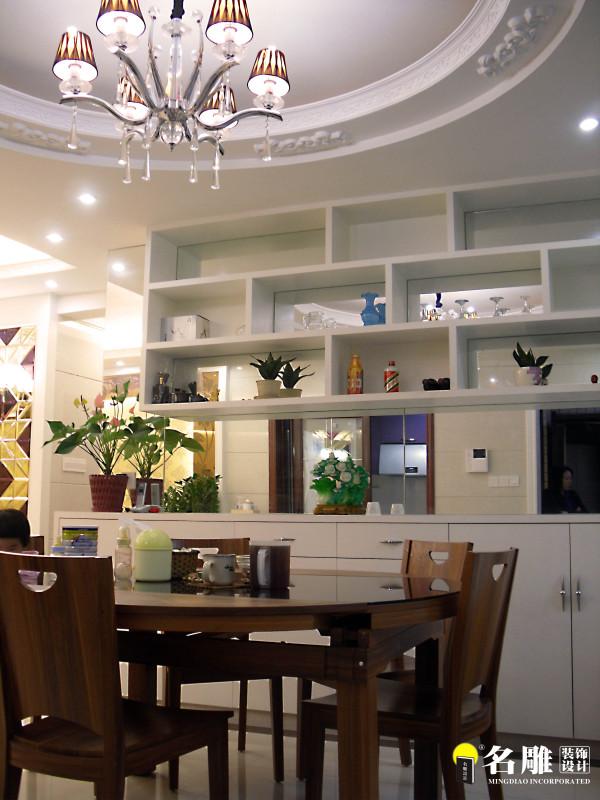 名雕装饰设计-长安花园三居室-现代简约风格-餐厅储藏柜