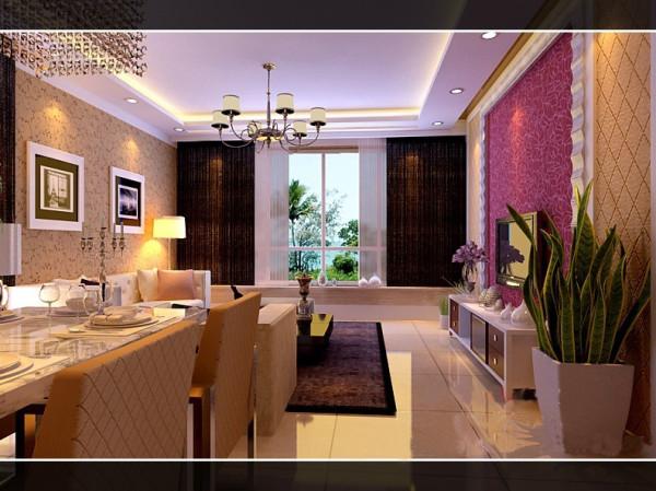 整个空间墙面以淡雅壁纸为主体来体现温馨与浪漫气息、客厅的布艺沙发与深色地毯搭配更加有层次感,客厅镜面的茶几用来修饰这一空间,合理的界定了功能空间
