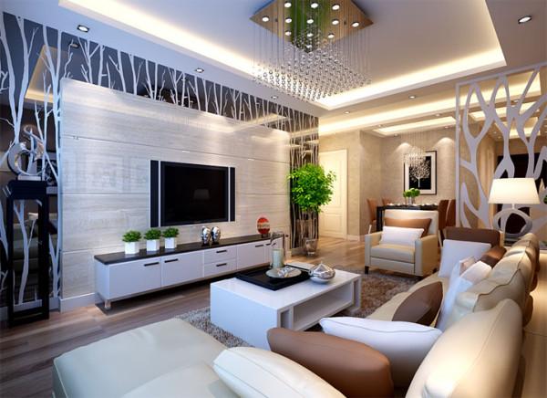 电视背景墙石材镜片,简单奢华,顶面做石膏板吊顶,里面暗藏一圈灯带,配以水晶吊灯,高贵典雅,家具选择方面以简约的家具为主,与整体色彩完美融合。