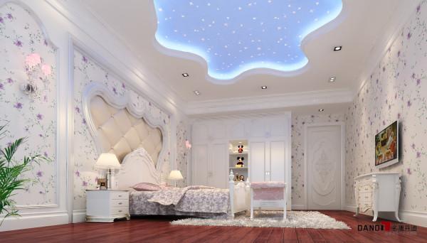 名雕丹迪设计——万科城御水湾别墅--简欧风格--儿童房:星空装天花板,梦幻诗意生活。