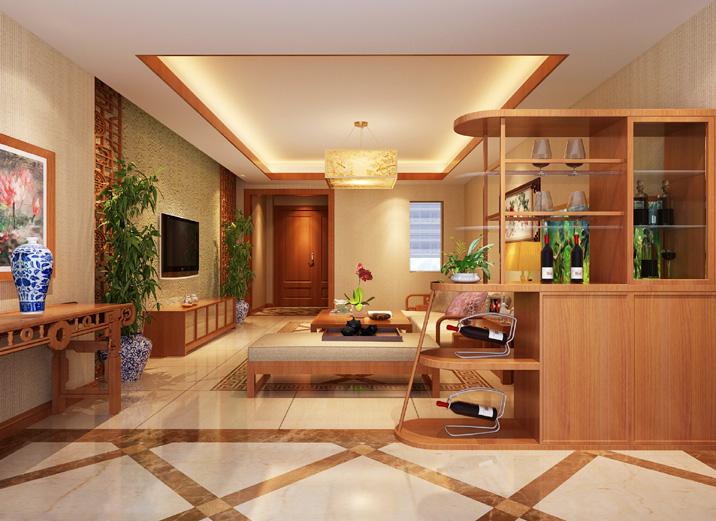 天津实创 首创国际城 三居 现代中式 装修效果图 客厅图片来自天津实创装修_装饰在首创国际城 157平现代简约中式的分享