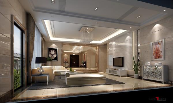名雕丹迪设计-三正半山别墅-现代简约客厅:空间以一丝不苟、正直刚强的外显性格,把持着柔美的情操,呼吸在材质的跃动之间。