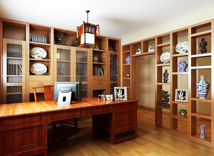 天津实创 首创国际城 三居 现代中式 装修效果图 书房图片来自天津实创装修_装饰在首创国际城 157平现代简约中式的分享