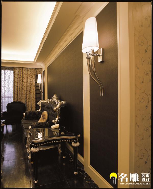 名雕装饰设计-珑园二居室-简欧风格-客厅沙发墙面