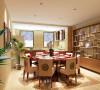 开敞式的厨房和餐厅在一起,体现了现代风格的时尚前卫,厨房橱柜选用了新中式风格的具有代表性的色彩。为了给客户营造出一个舒适温馨的居住环境。