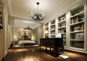 欧式 别墅 别墅装修 名雕丹迪 高富帅 书房图片来自名雕丹迪在现代欧式—360平经典别墅装修的分享