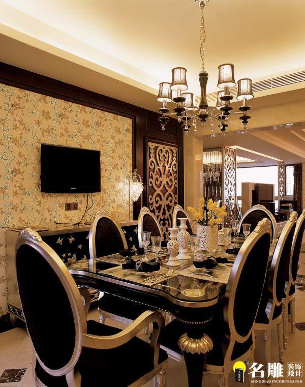 名雕装饰设计-中信红树湾四居-混搭风格餐厅:设计师在秉承一贯风格上。巧妙的设计了一扇客房隐形门,搭配艺术墙纸,使得整个特色效果带出稳重,高贵的感觉。