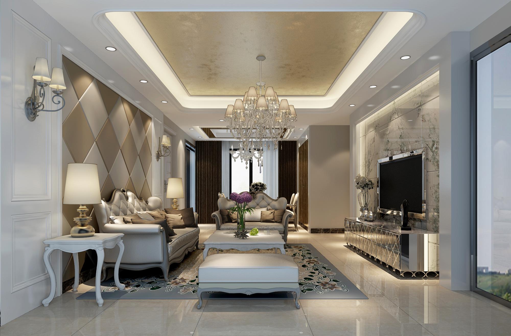 简约 欧式 三居 小资 客厅图片来自实创装饰上海公司在三居室简欧装修效果图的分享
