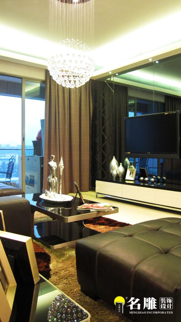 名雕装饰设计-奕翠葡萄园-三居室-现代风格客厅电视背景
