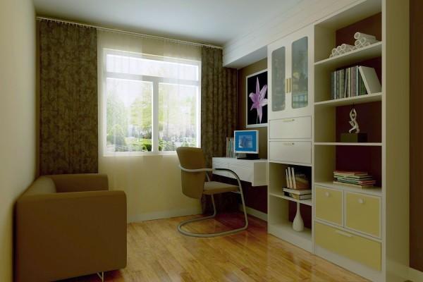 书房设计比较简单,电脑桌,书架,整体比较简单时尚