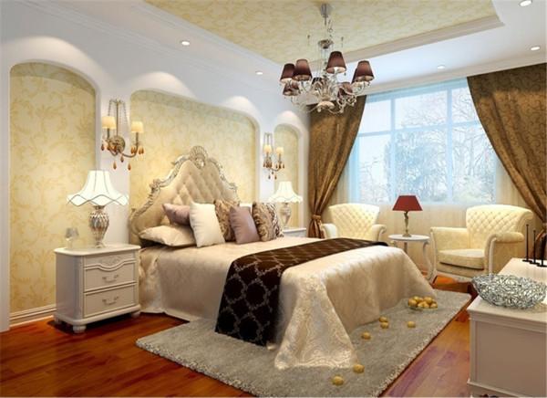 主卧高贵、典雅又不失浪漫气质主卧的色彩选用了淡淡的大麦色,它柔和、高雅并且容易让人放松下来。无论是壁纸、布艺以及家居的颜色都遵从了这个色彩,给卧室带来不一样的静匿感受。