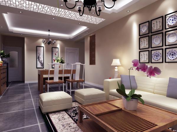郑州实创装饰-建业贰号城邦140平四居室-客餐厅效果图