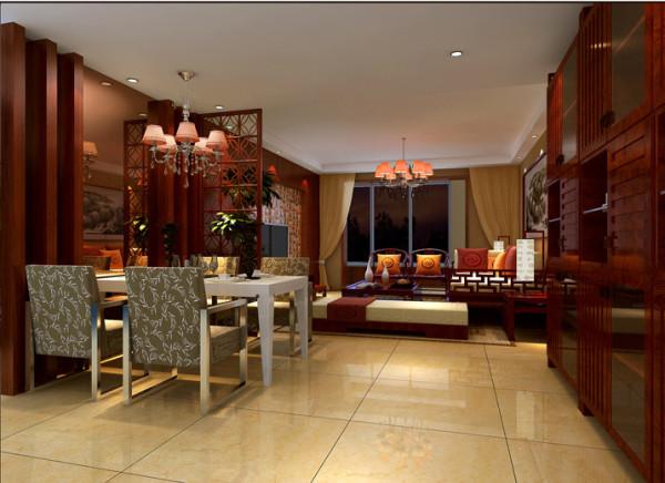 餐厅与客厅通过雕花隔断来达到空间分割效果, 墙面大胆用红木装饰与现代茶色玻璃结合,打破了传统中式的呆板,增添了空间的特色