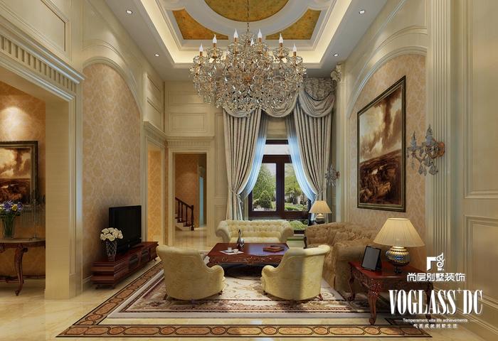 欧式 别墅 白领 客厅 餐厅 卧室 卫生间 客厅图片来自北京别墅装修案例在大气自然的简欧风格的分享