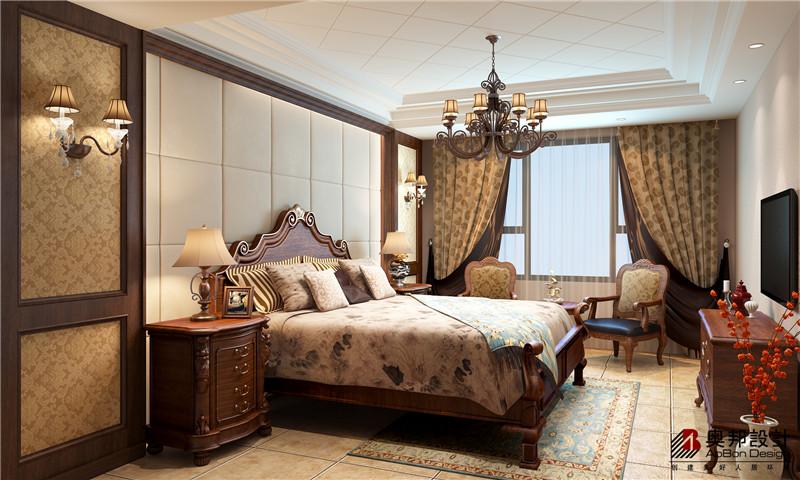 简约 田园 别墅 保利茉莉 奥邦装饰 美式风格 别墅装修 卧室图片来自上海奥邦装饰在保利茉莉别墅美式风格全套方案的分享
