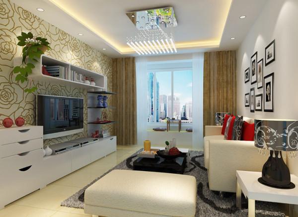 电视背景墙采用了组合式厅柜与壁纸结合,米黄与白色的结合使空间简约明快。回字形吊顶让空间,更加和谐。