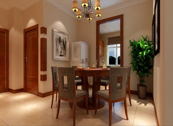 设计理念:餐厅的空间讲究对称且划分简单合理,给了主人们更充裕的自由活动空间 亮点:简单的背景墙,餐边柜,显得空间雅致安静。