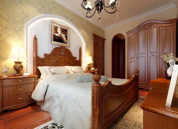 设计理念:布置较为温馨,作为私密空间,主要以功能性和实用舒适为考虑的重点。矮四柱床是卧室的视觉中心,讲究厚重的质感,适宜选择椭圆的古雅穿衣镜。