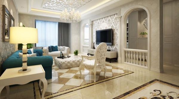 天花的造型吊顶,电视背景墙的拱形造型加上罗马柱的搭配。赋予了整个空间奢华,大气的感觉。白色的运用使得整个空间明亮,大方。
