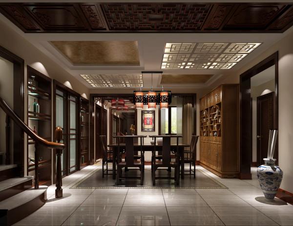 金色漫香苑140㎡现代中式风格餐厅效果图。