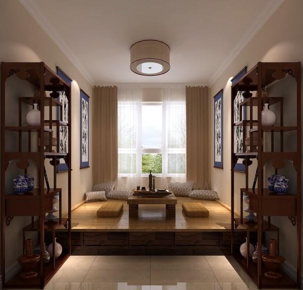 书架上根据业主喜好放置各种陶瓷、器物都给人一种美妙,非常精细化的设计。