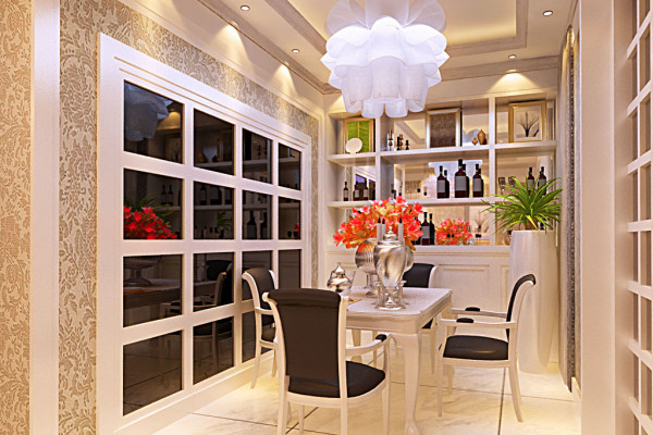 餐厅:利用厨房对称墙面用黑色烤漆玻璃做出格格造型,既有时尚元素又把餐厅的空间放大,酒柜是餐厅必不可少的元素,用规规整整的方格做出与对称墙的呼应,错落有致的红酒,级一些装饰, 做出了奢华中的低调情怀。