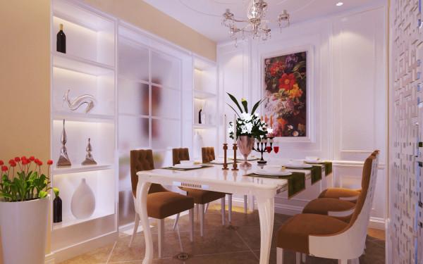 餐厅:利用厨房前面做嵌入处理打造酒柜的空间,把餐厅墙面做对称护墙造型,把次卧门隐藏处理,错落有致的酒柜空间是餐厅一大亮点。