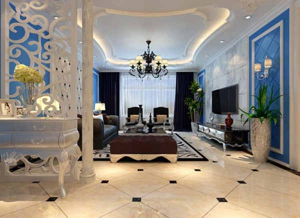 设计理念:客厅的设计电视背景墙采用天然大理石搭配欧式石膏板造型,简单大方。蓝色沉稳的底蕴与白色的简约做搭配,让宁静的夏天增添了一丝凉意。顶面做石膏板吊顶,里面暗藏灯带,配以古铜铁艺吊灯,高贵典雅。