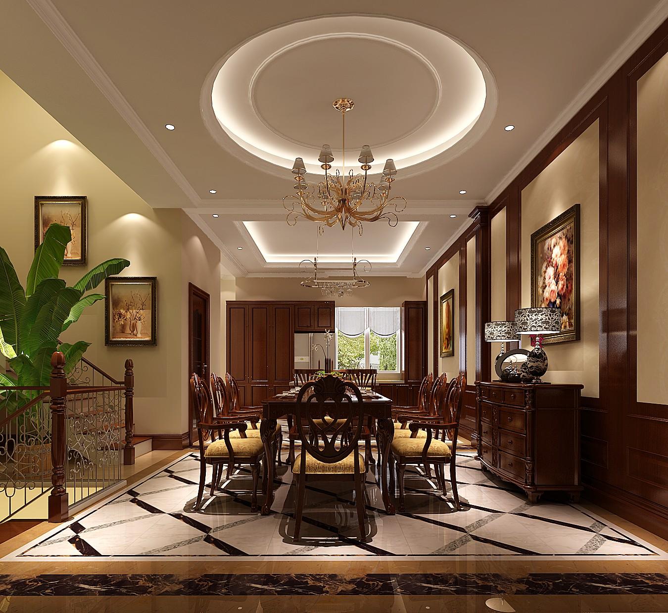 欧式 别墅 餐厅图片来自专业别墅设计工作室在永定河孔雀城简欧风格别墅案例的分享