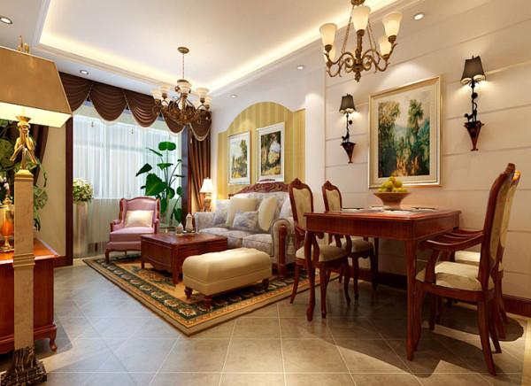 选材方面,除了采用欧式的实木家具外配以简单石膏板墙面造型。大大提升了实木家具的原质感的对比效果,在表现尊贵的同时还增添了几分现代感。与此同时,本案配搭了暖色的灯光,使得空间氛围更温馨。
