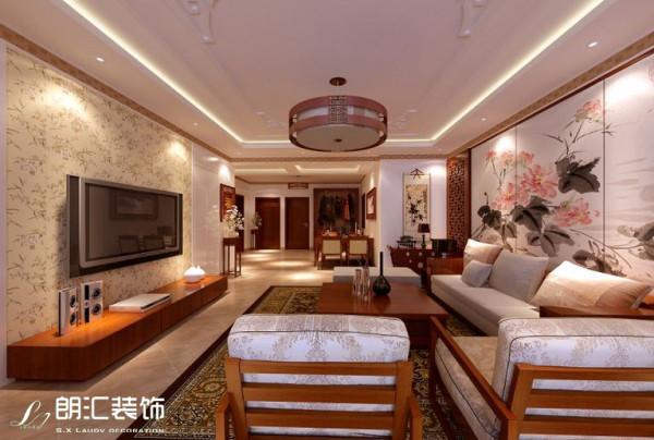 【西安朗汇装饰】三居室新中式风格客厅效果图赏析