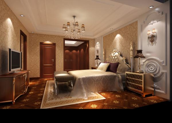 潮白河孔雀城350㎡简欧风格主卧室效果图。