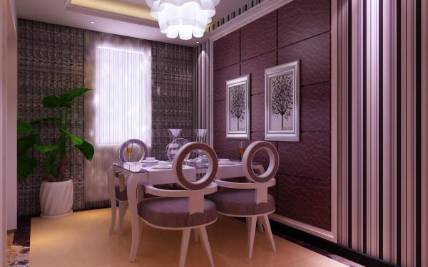 餐厅:地面普拉提抛光地砖,暖白光灯槽围合吊顶造型,条纹壁纸铺贴墙面,主背景采用和电视墙一样的硬包处理,使客餐厅有元素的呼应,空间得以延续。