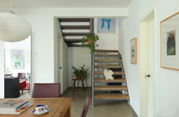 通往卧室的台阶上慵懒的猫随意站着,变成了这家里一处别样的景端。