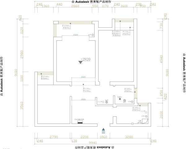 郑州实创装饰-阳光城88平两居室-原始户型图
