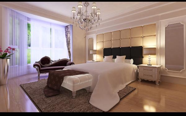 主卧室:墙面整体以壁纸处理,木地板处理地面,安静舒适。软包和线条带有北欧的异域风情,结合窗帘增加卧室的精致感。