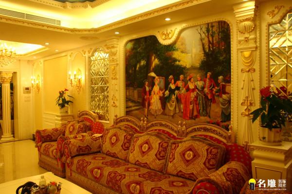 客厅壁画:墙面镶以柚木木板或皮革,再在上面涂上金漆或绘制优美图案。