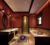 主卫生间:浅红色墙体壁纸、下面花纹色地砖、圆形梳妆台给人洁净舒适之感同时,又能体现美式古典艺术气息。