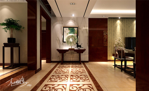 餐厅透明玻璃门上的木质拉手增加了空间的细节的精彩,在风格中并没有把两种风格的元素简单堆砌,而是从功能、美观、文化、协调等各方面综合考虑