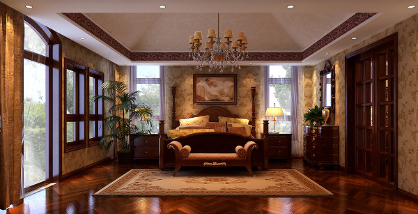 丹麦小镇欧式古典风格别墅装修卧室效果图。