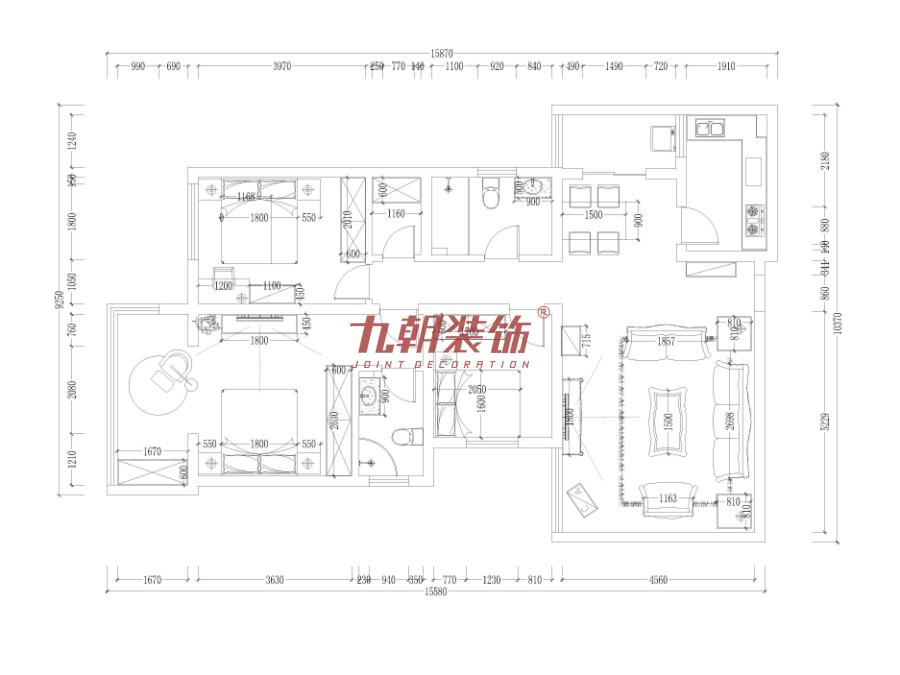 简约 四居室 超大空间 九朝装饰 西安装修 户型图图片来自陕西九朝装饰公司在九朝装饰:170平米超大空间的分享