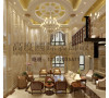 客厅的大部分处在挑空结构之下,大面积的玻璃窗带来了良好的采光,落地的窗帘很是气派。壁炉自被安置在空间结构的交汇处,与一幅色彩鲜艳的油画相呼应。
