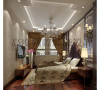 卧室造型比较简单,吊顶做比较有个性的吊顶,床头选用床头软包,两边选用造型和壁灯增加了情调,卧室其他部分都选用贴壁纸,典型的欧式风格。