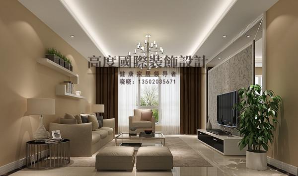 作为会客区域,应以简洁、大气为主;简约风格造型比较简单,电视背景前选用镜子与壁纸的结合,很有亮点,沙发背景做简单地储物架,整个空间很大气。