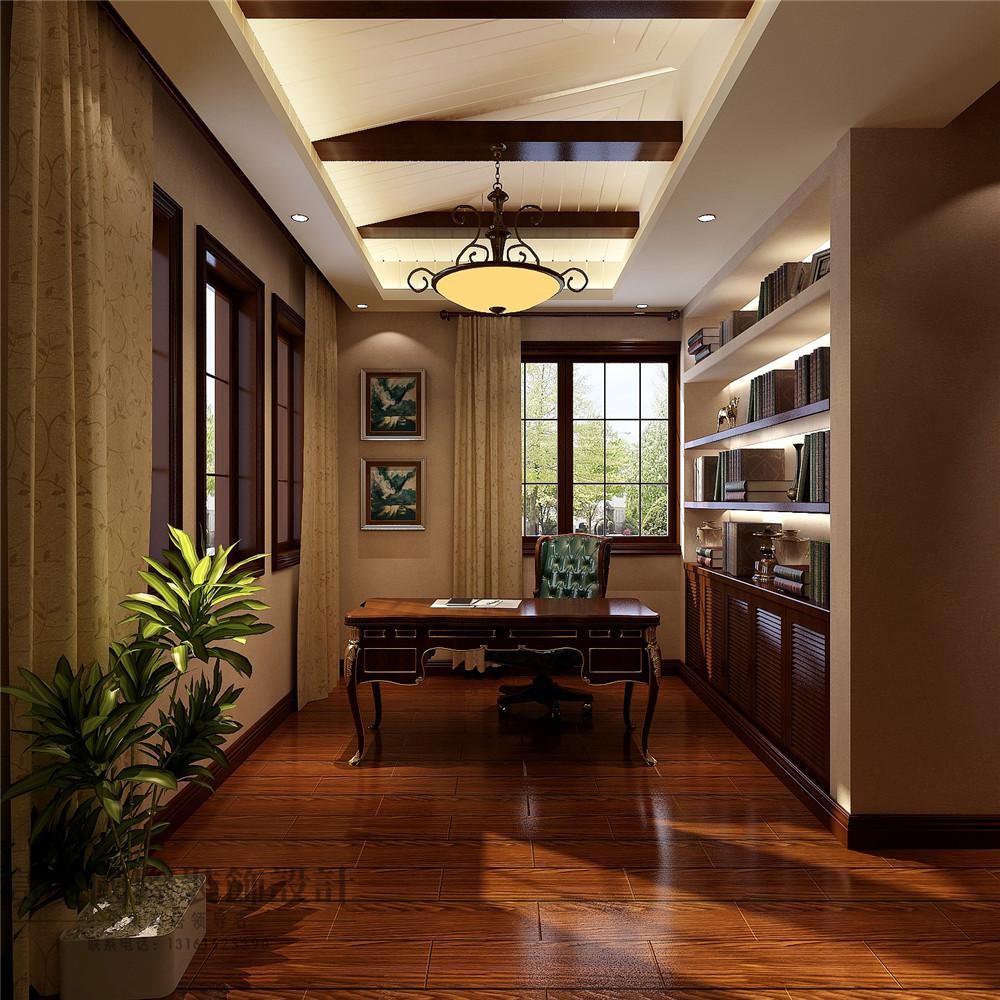 美式 新古典 别墅装修 新新家园 380平米 设计风格 装修样板间 书房效果图 书架 书房图片来自天天快乐的石头在新新家园美式新古典风格装修案例的分享