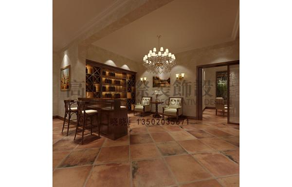 女主人有藏酒、品酒的爱好,所以设计师专门做了一个藏酒、品酒的空间,地面选用仿古的地砖,一些射灯、壁画做装饰很有情调。