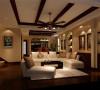 地下起居室:古典的木质吊顶再配之白色沙发给人无限温馨舒适之感。