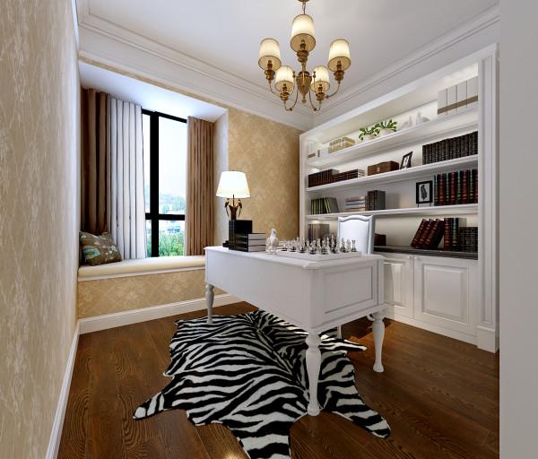 华润橡树湾130平米书房效果图,地面铺的实木地板,合肥川豪装饰设计。