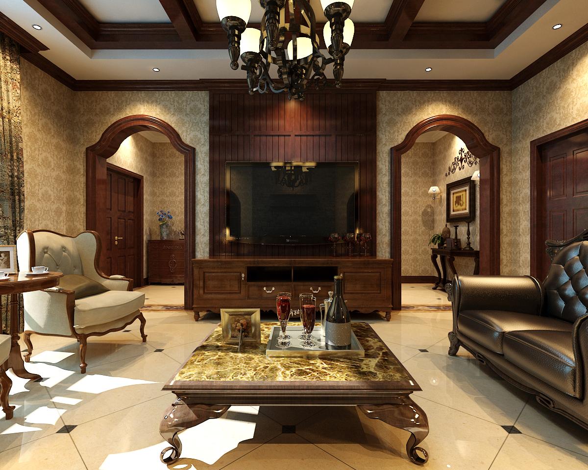 客厅图片来自王含亦在独栋别墅(美式)的分享