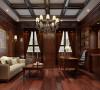 书房选用深色的实木做造型,吊顶上也用深色的木梁做造型,整个空间很深沉,很有文化气息。
